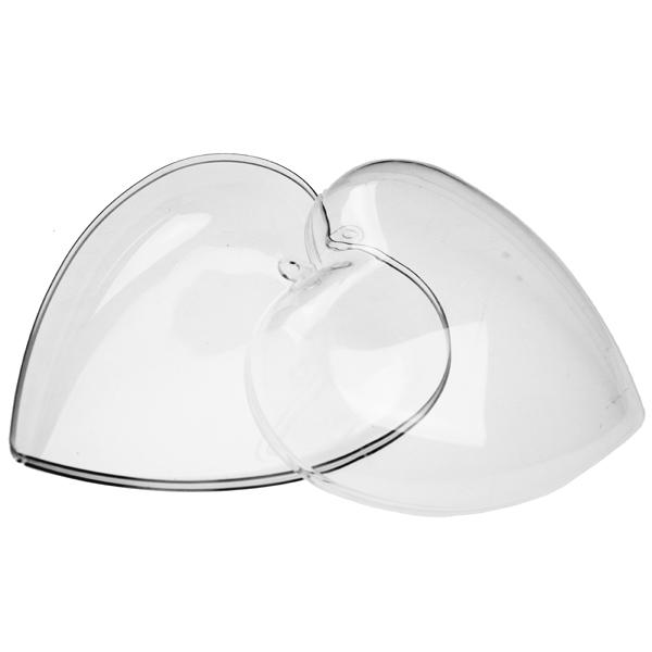 Clear Splittable Heart Shaped Bauble - 100mm