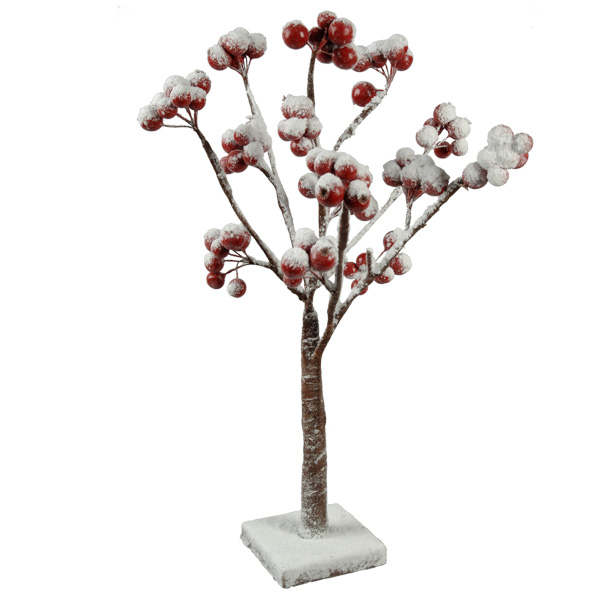 Natural Effect Tree With Berries & Snow Finish - 45cm