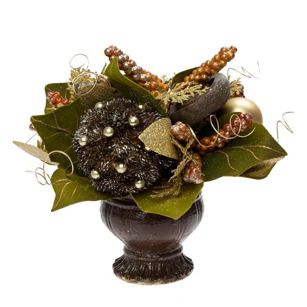 Chocolate Orange Room Decoration Collection - Round Centrepiece In A Pot