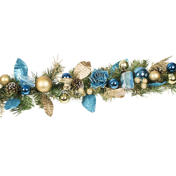Regal Blue Christmas Room Decoration Collection - 1.5m Garland