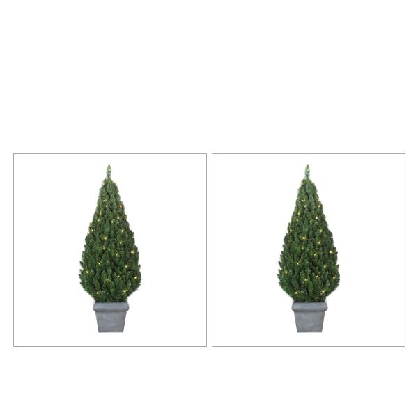 Battery Operated Outdoor Christmas Trees: Pre-Lit Outdoor Battery Operated Potted Tree