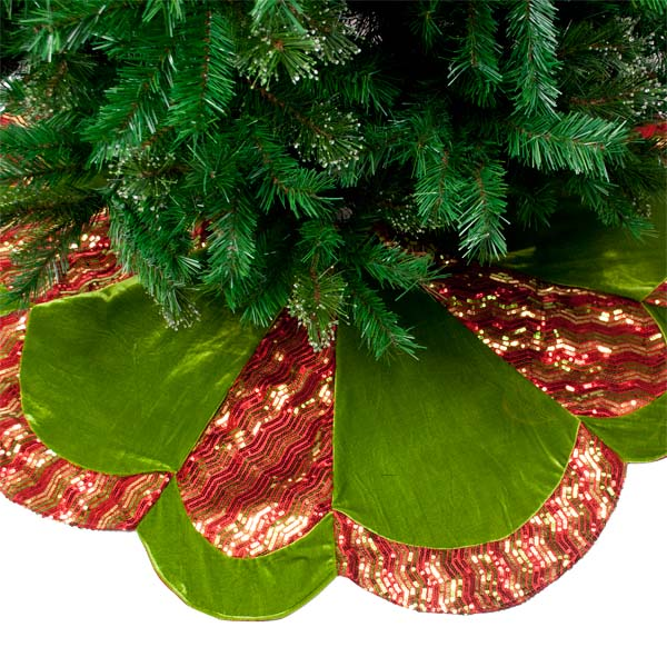 Red, Green & Gold Opulent Scalloped Edged Tree Skirt - 122cm