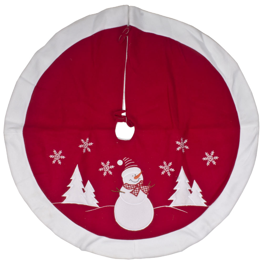 Red & White Fabric Snowman With Knitted Hat Design Tree Skirt - 89cm