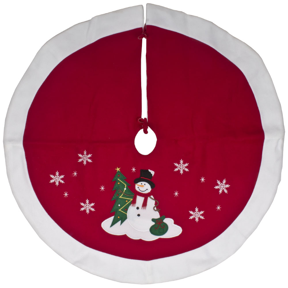Red & White Fabric Snowman With Top Hat Design Tree Skirt - 89cm