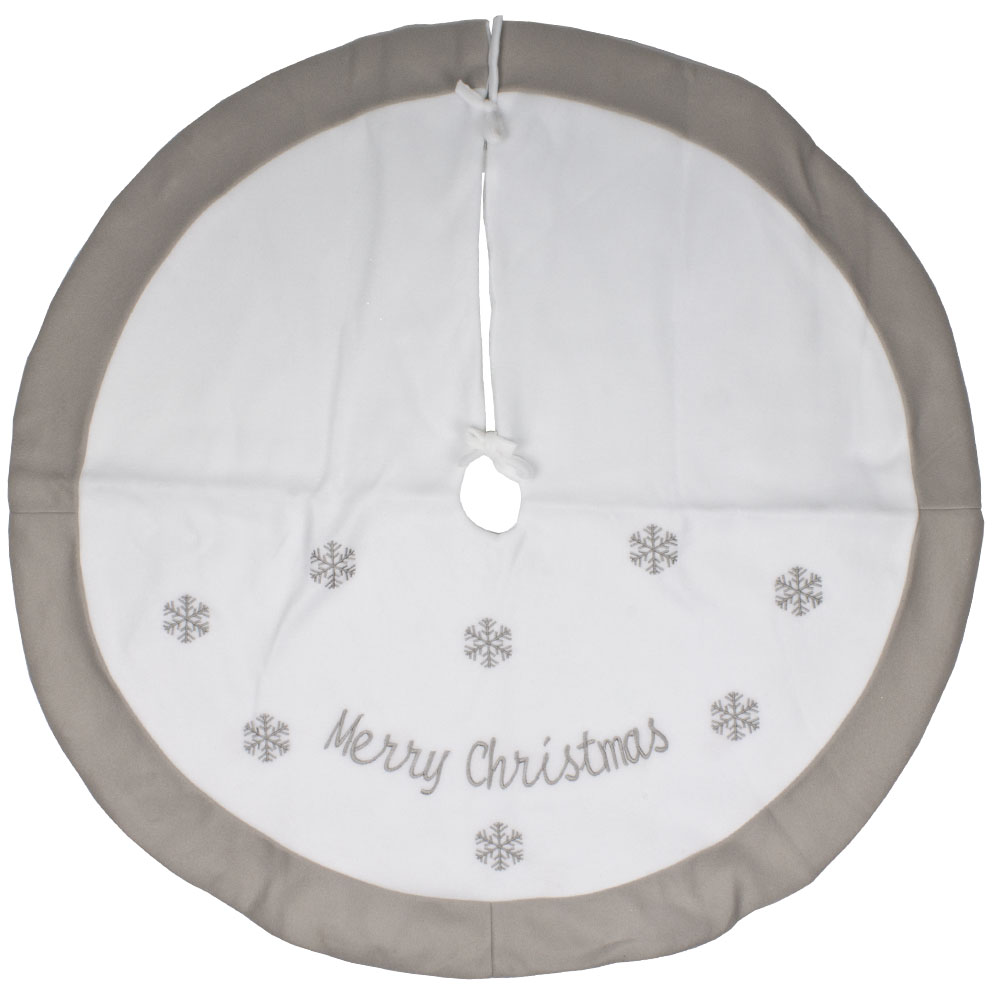 Grey & White Merry Christmas Tree Skirt - 89cm