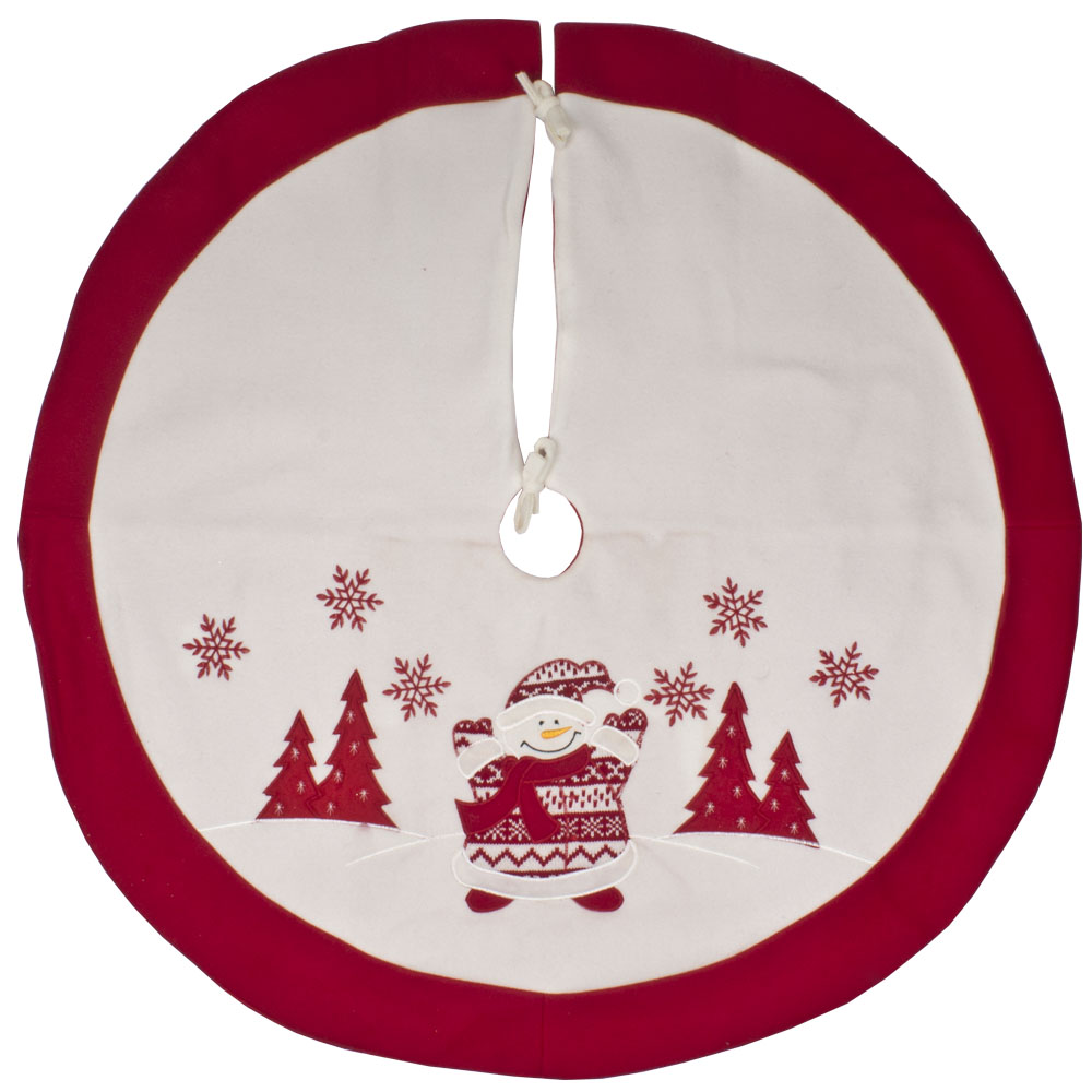 Red & White Felt Tree Skirt With Knitted Snowman Character - 90cm
