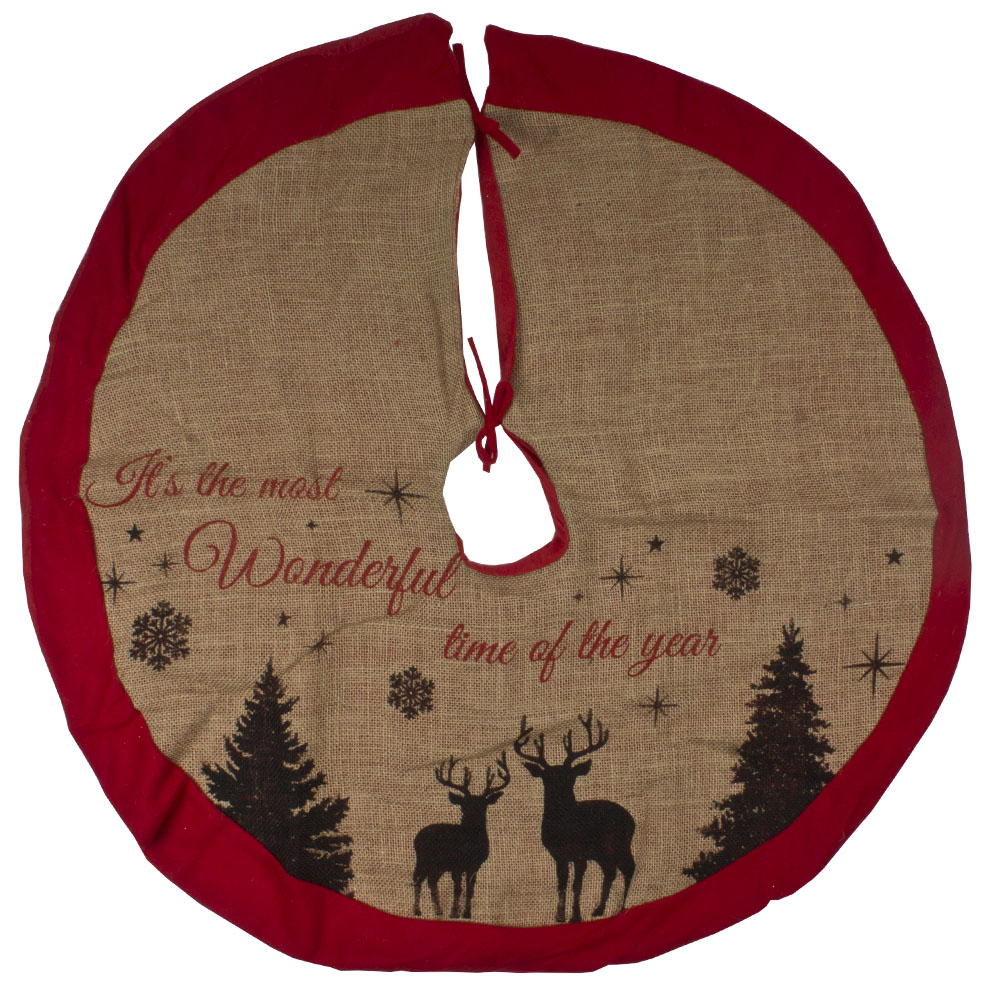 Jute Tree Skirt With Reindeer Design - 86cm