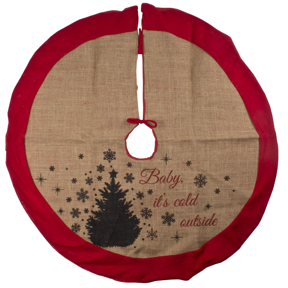 Jute Tree Skirt With Tree Design - 86cm