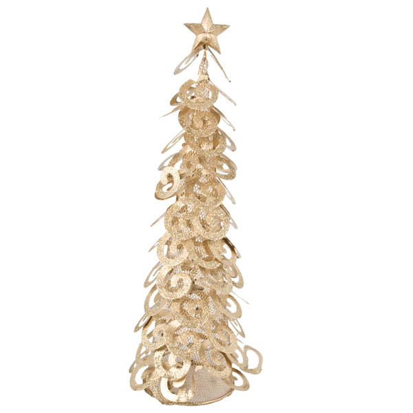 Gold Glittered Spiral Table Top Tree - 45cm