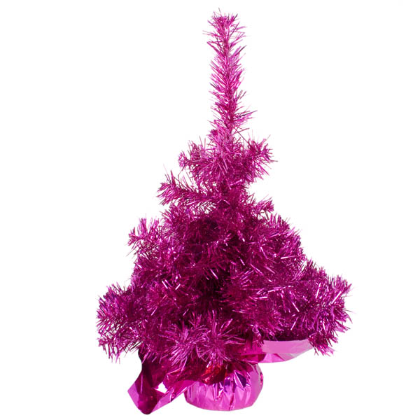 Tabletop Tinsel Tree -45cm Fuchsia