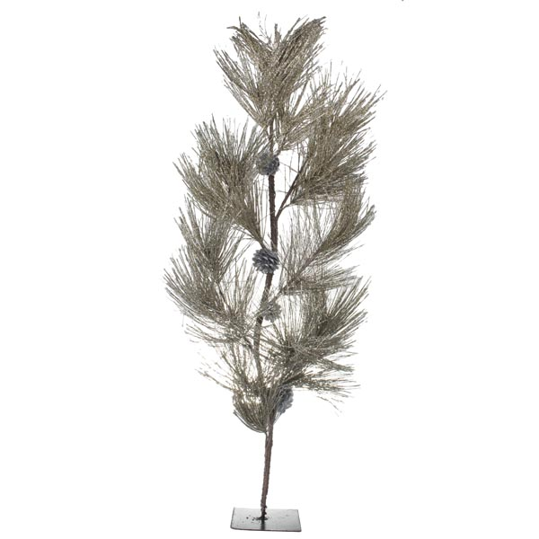 Champagne Glittered Table Top Tree With Pine Cones - 80cm