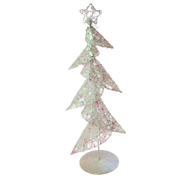White Sequin Table Top Tree - 46cm (015-20123-WH)