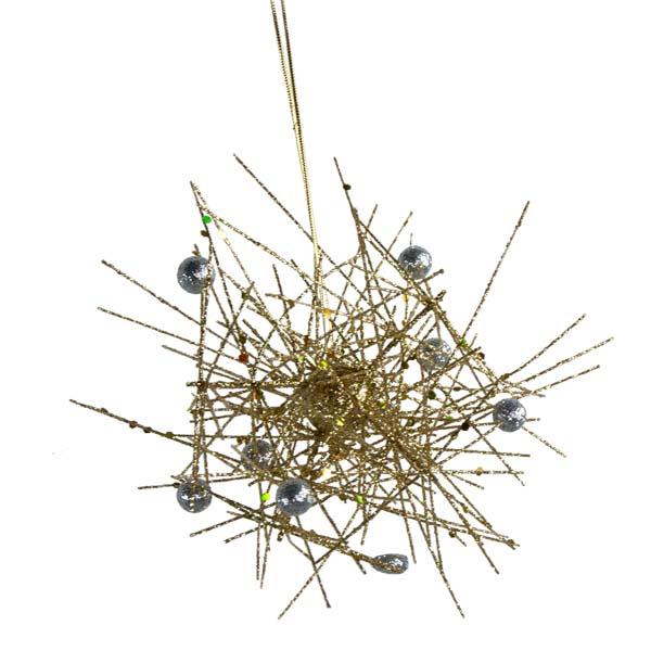 Gold & Silver Sparkle Burst Hanging Decoration - 15cm
