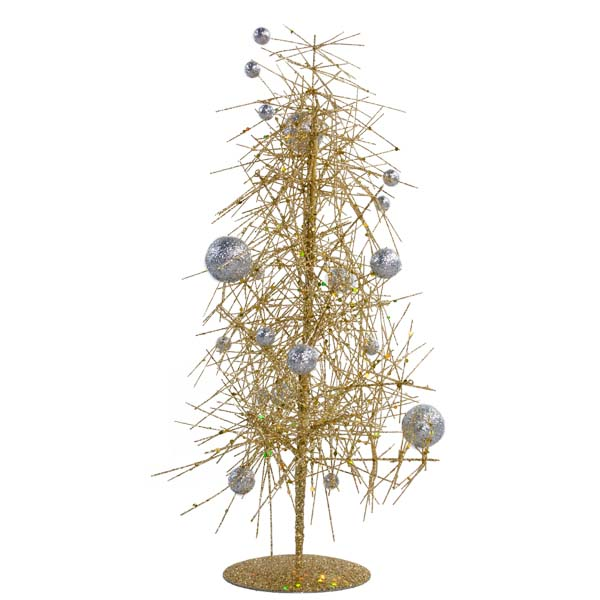 Gold & Silver Sparkle Burst Miniature Table Top Tree - 38cm