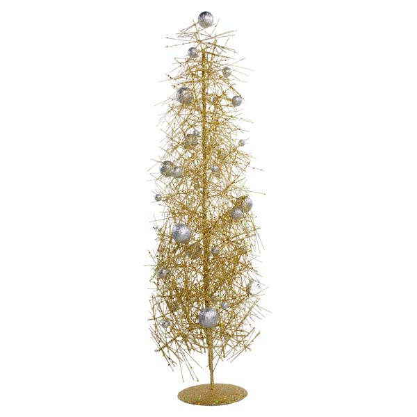 Gold & Silver Sparkle Burst Slim Table Top Tree - 65cm