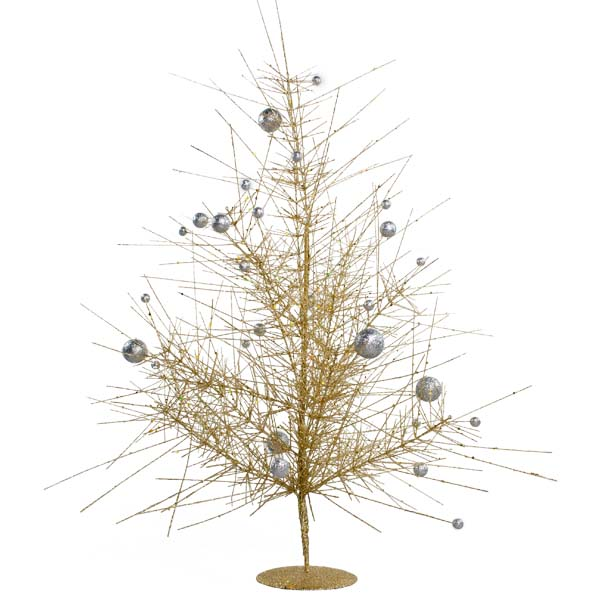 Gold & Silver Sparkle Burst Table Top Tree - 60cm