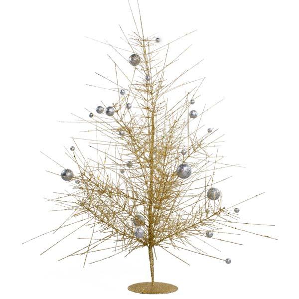 Gold & Silver Sparkle Burst Table Top Tree - 60cm