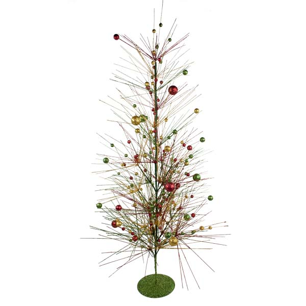 Red, Green & Gold Sparkle Burst Display Tree - 100cm
