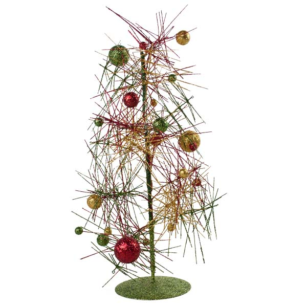 Red Green Amp Gold Sparkle Burst Miniature Table Top Tree