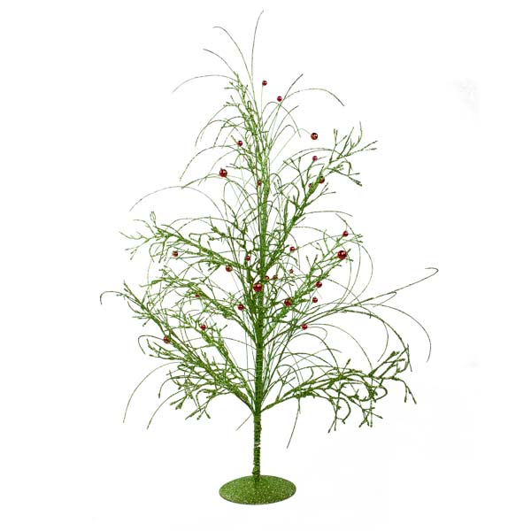 Lime Green Glitzy Table Top Twig Tree - 60cm