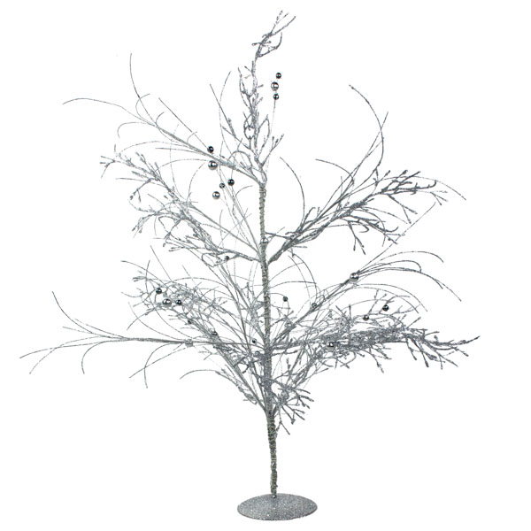 Silver Glitzy Table Top Twig Tree - 60cm