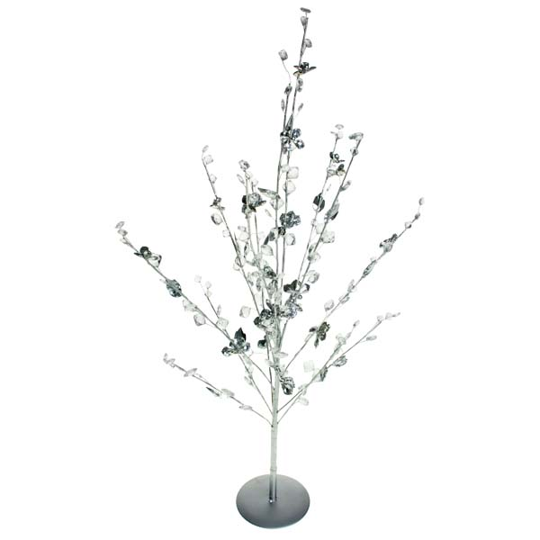 Decorative Crystal And Flower Table Top Tree - 71cm