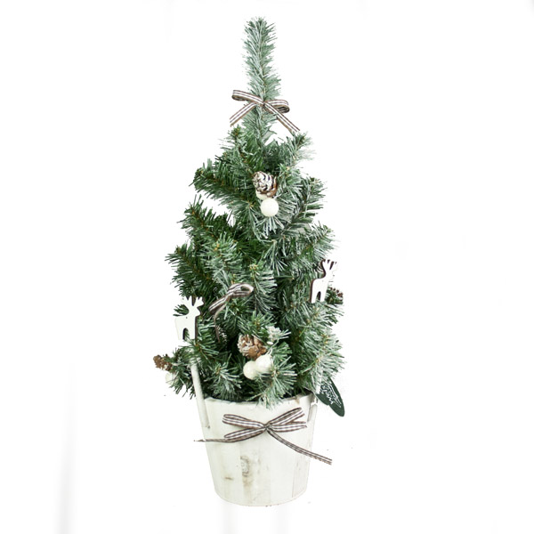Decorated 45cm Table Top Tree In Pot With Reindeer & Snowballs