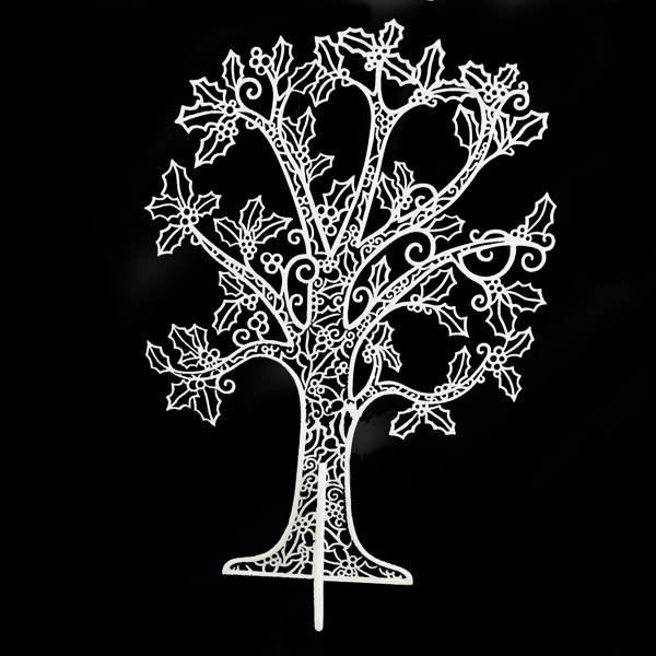 White Glitter Finish 2D Filligree Table Top Tree With Stand