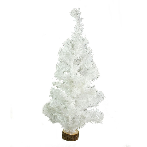 White Table Top Tree With Small Blocked Log Base - 60cm