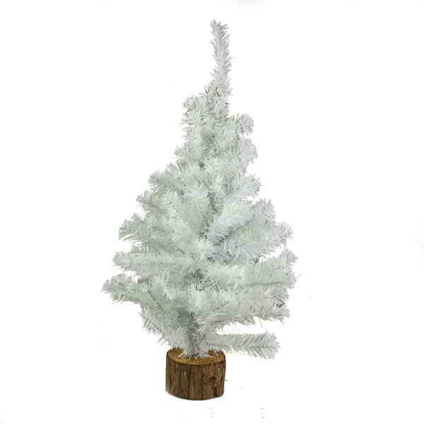 White Table Top Tree With Large Blocked Log Base - 60cm
