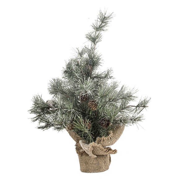 Frosted Table Top Tree With Pinecones - 45cm