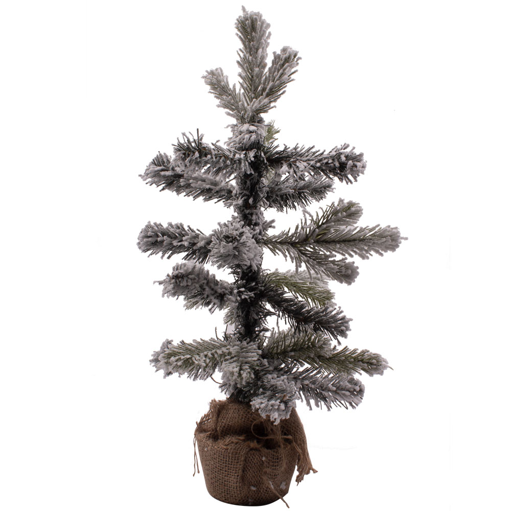Snowy Pine Table Top Tree In Jute Bag - 35cm