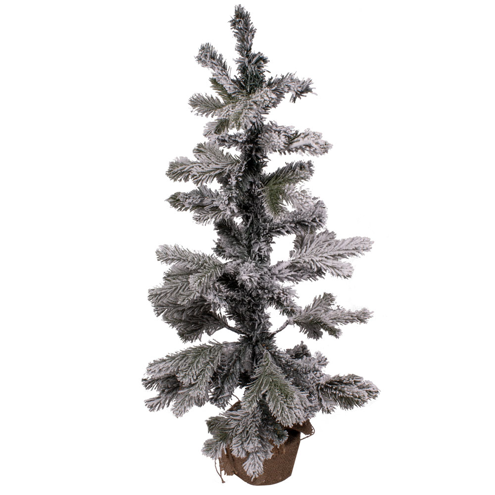 Snowy Pine Table Top Tree In Jute Bag - 90cm