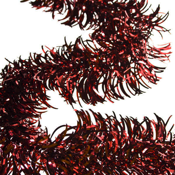 Dark Red Wavy Tinsel Garland - 2.7m x 100mm