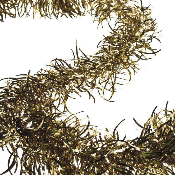 Light Gold Wavy Tinsel Garland - 2.7m x 100mm