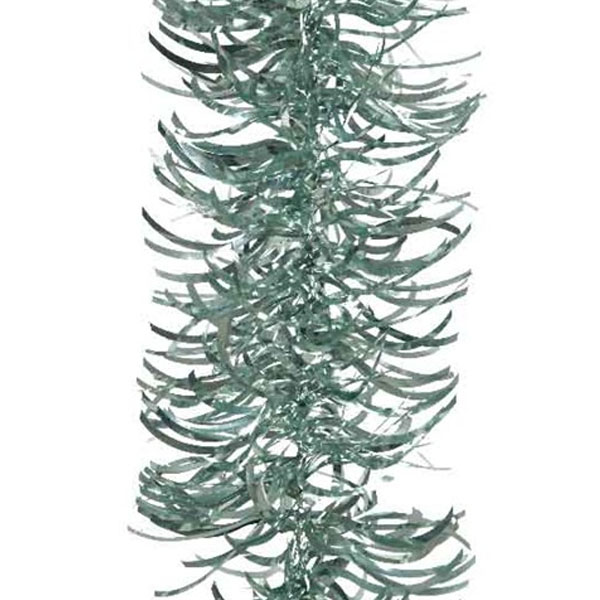 Pale Sage Green Wavy Tinsel Garland - 2.7m x 100mm