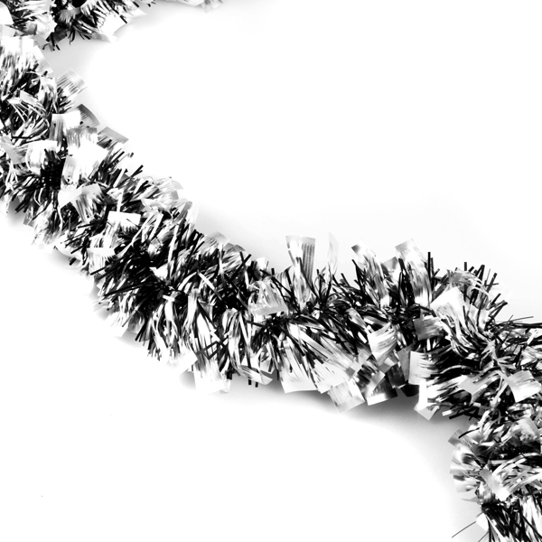 Mirror tinsel garland in black silver christmas time uk