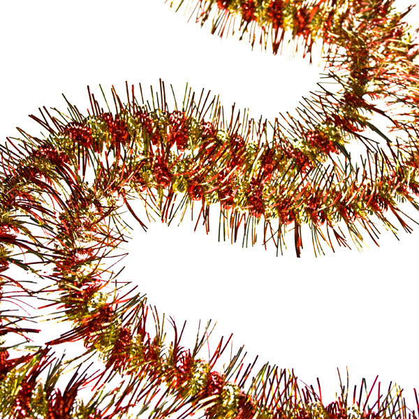 Red & Gold Curly Tinsel - 2m X 50mm