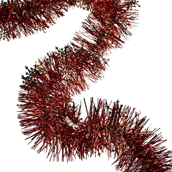 Gold/Red Snowflake Tinsel - 2m x 90mm