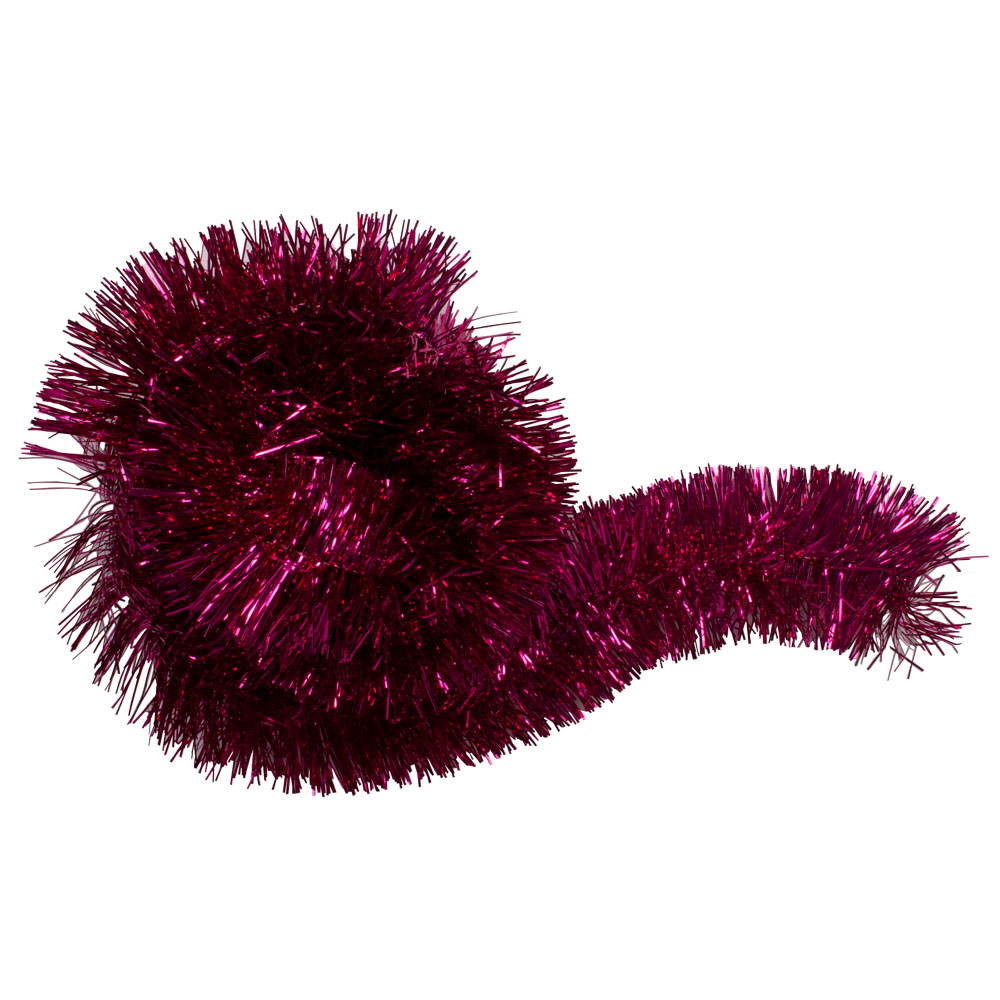 Fuchsia Shiny Tinsel Garland - 75mm X 2.7m