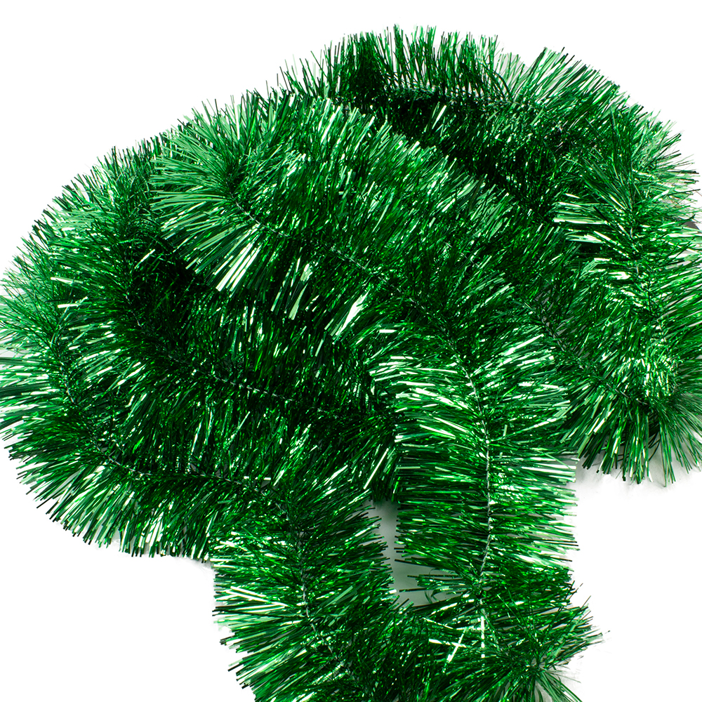 Holly Green Shiny Tinsel Garland - 75mm X 2.7m