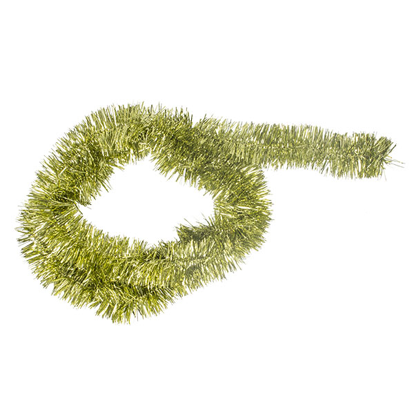 Olive Green Shiny Tinsel Garland - 75mm X 2.7m