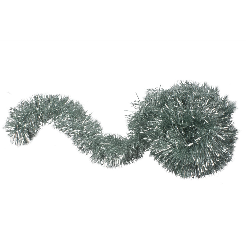 Pale Sage Green Shiny Tinsel Garland - 75mm X 2.7m