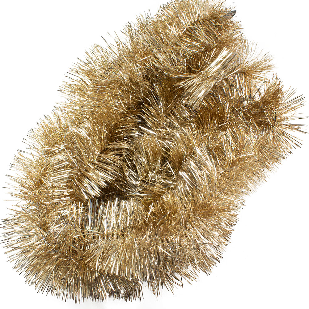 Soft Caramel Shiny Tinsel Garland - 75mm X 2.7m
