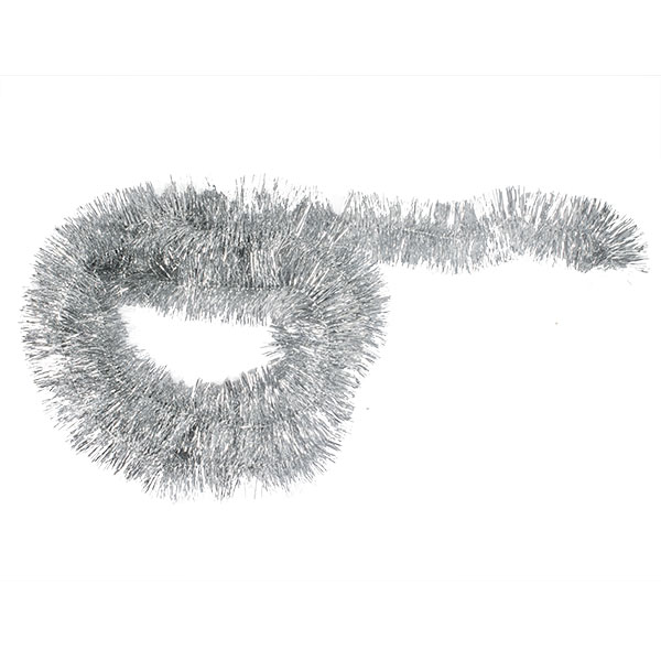 Silver Shiny Tinsel Garland - 75mm X 2.7m