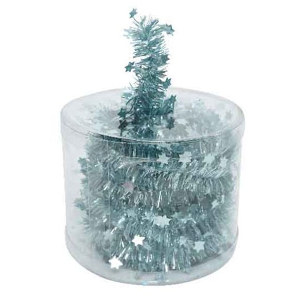 Arctic Blue Tinsel Star Garland In Acetate Tub - 7m x 35mm