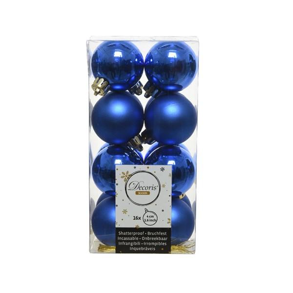 Cobalt Blue Baubles - Shatterproof - Pack of 16 x 40mm