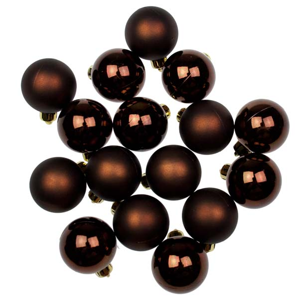 Ebony Brown Baubles - Shatterproof - Pack of 16 x 40mm