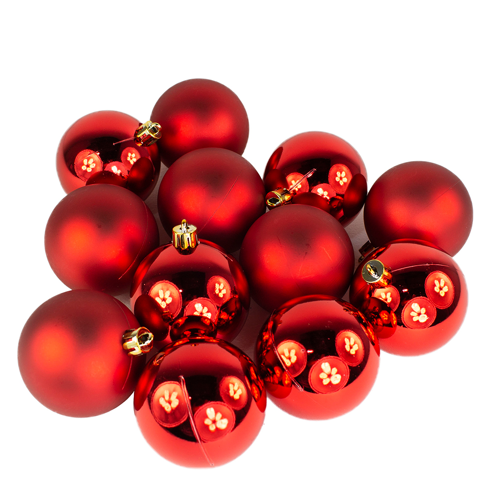 Christmas Red Baubles - Shatterproof - Pack of 12 x 60mm