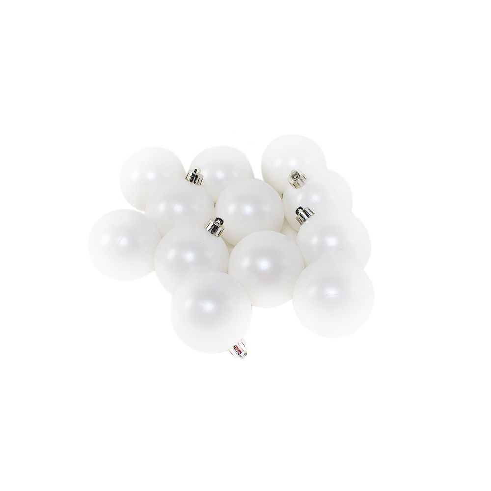 Winter White Baubles - Shatterproof - Pack of 12 x 60mm